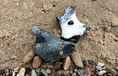 beach art, stone dog, Steinhund